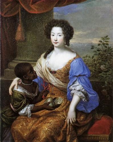 Louise_de_Kéroualle_by_Pierre_Mignard and black servant