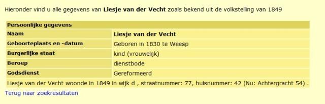 Adres Liesje van der Vecht 1849