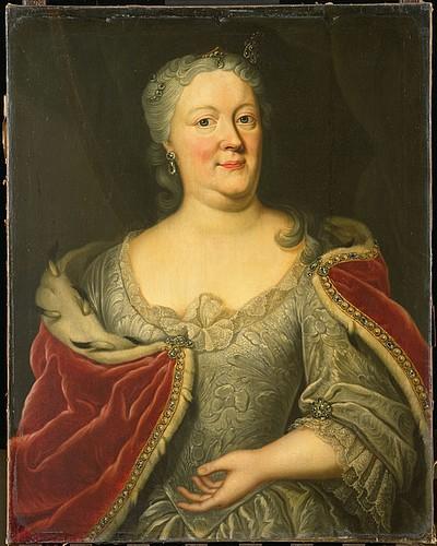 Maria Louisa van Hessen-Kassel 1688-1765), genoemd Maaike-Meu. Weduwe van de Friese stadhouder Johan Willem Friso, prins van Oranje-Nassau. Vervaardiger: Behr, Johann Philipp (collectie Rijksmuseum)