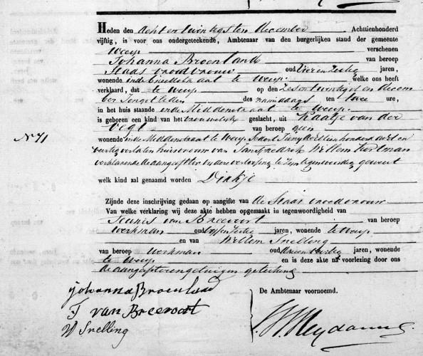 1850 geboorte akte Dirkje 001
