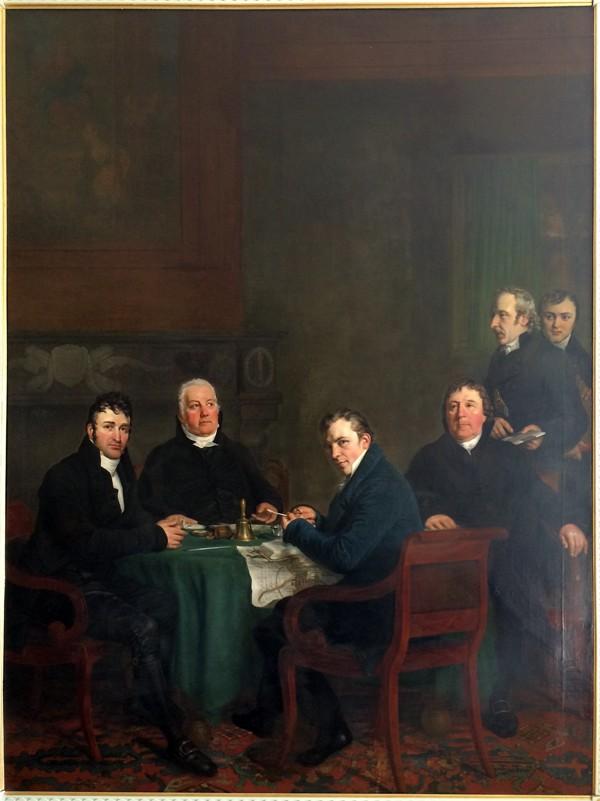 Van links naar rechts: de burgemeesters Peelen en Schimmel, secretaris De Vries, burgemeester De Vries en de beide bodes, vader en zoon Vaarberg. Door Louis Moritz in 1821.