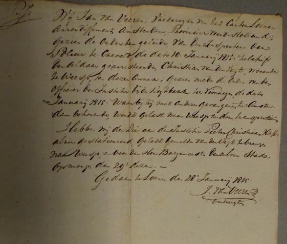 Verklaring Jan van Veeren 1815 001