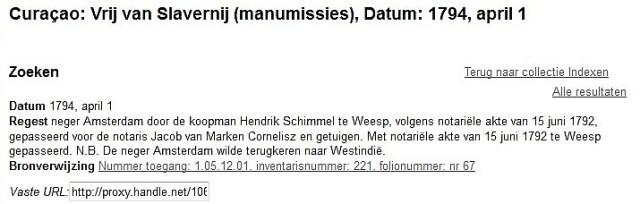 1792 Vrij van Slavernij manumissies gahetna.nl