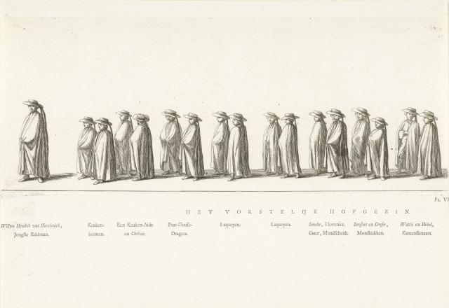 Hofhouding in de begrafenisstoet van prinses Maria Louise, 1765, Rienk Jelgerhuis, Abraham Ferwerda, 1765