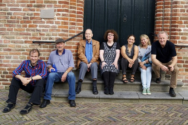 Decendants on the steps of the church in Weesp