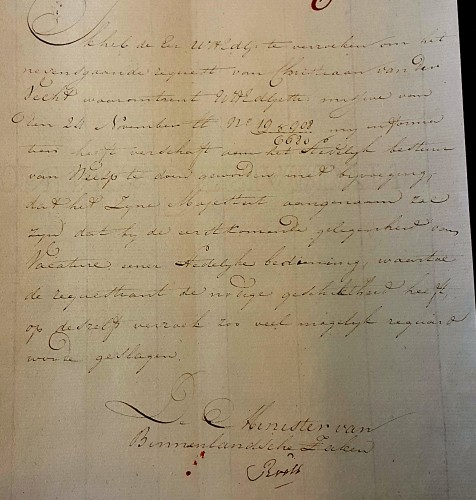 1815 12 14 Brief van minister Roëll aan de Lange