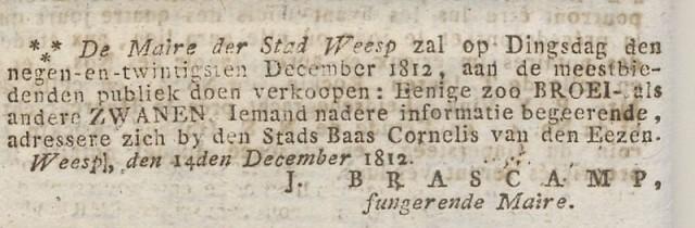 1812 12 17 Stadsbestuur Weesp verkoopt zwanen 01