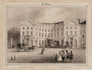 De Koninklijke Schouwburg, steendruk ca 1830