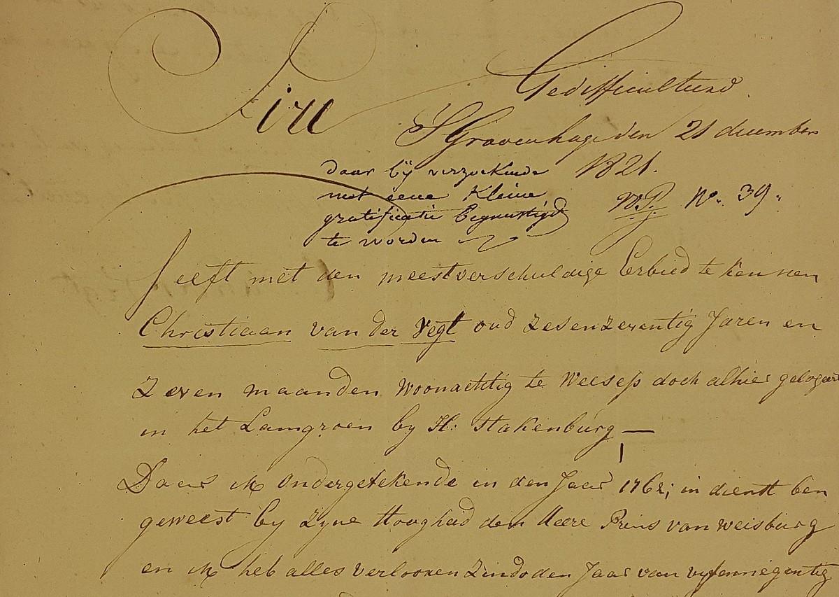 Brief in dienst van Prins van Weilburg 01