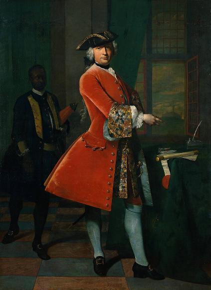 Jan Pranger op het kasteel Elmina door Frans van der Mijn 1742. Coll Rijksmuseum
