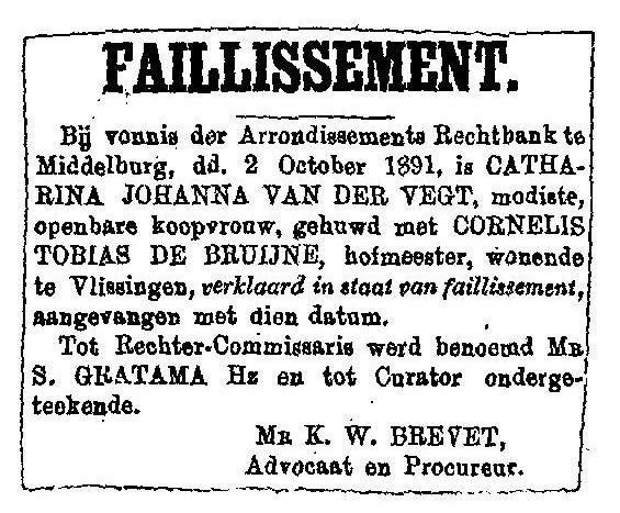 1891 10 02 Faillissement Catherina Johanna van der Vegt
