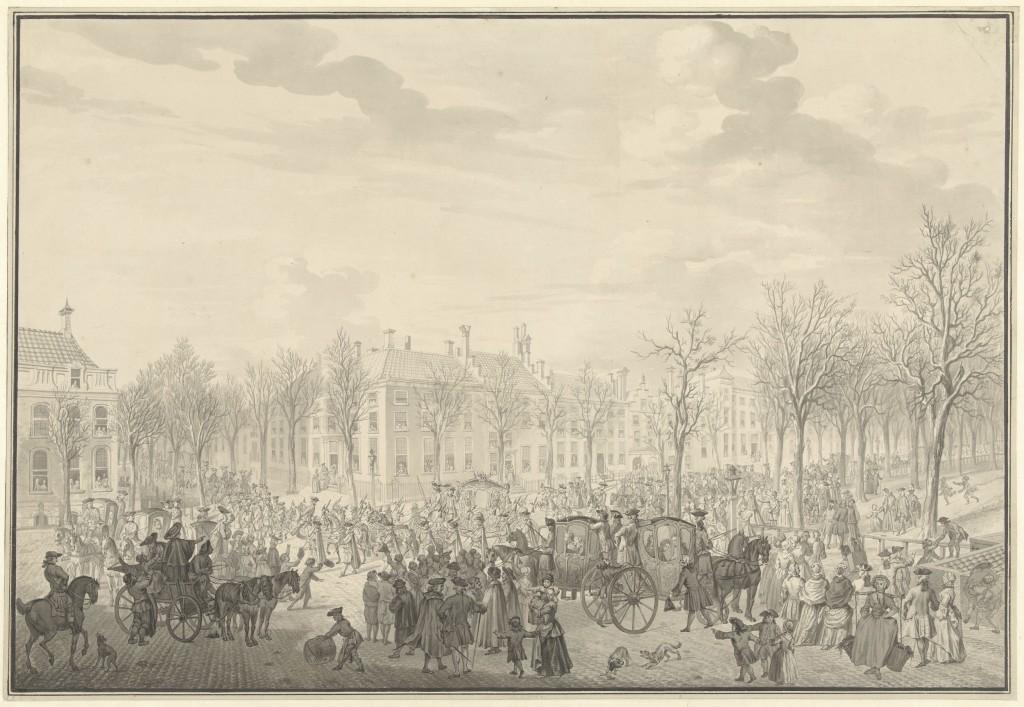 Aankomst-van-prins-Willem-V-te-s-Gravenhage-10-nov-1762-mogelijk-la-Fargue-1762-1782-RP-T-00-20 Coll. Rijksmuseum