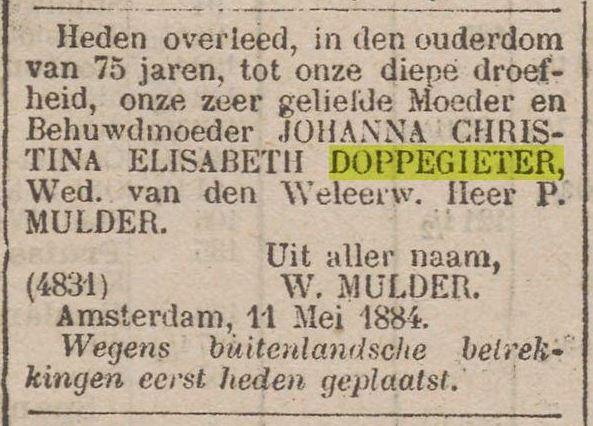 1884 05 11 Overlijden Doppegieter