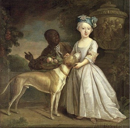 A Young Girl with a Dog and a Page, 1720-30, Dandridge, Bartholomew (1691-c.1754) Yale Center for British Art, Paul Mellon Collection, USA / The Bridgeman Art Library