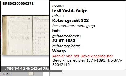 Keizersgracht 822 Annetje