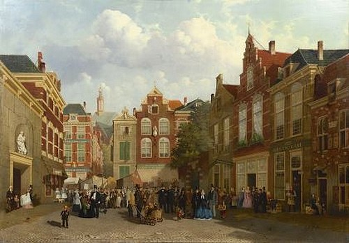 Joseph Bles Den Haag 1825-1875 Kermis op de Grote Markt
