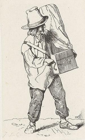 Straatmuzikant met draaiorgel Jacobus Ludovicus Cornet 1825 - 1882