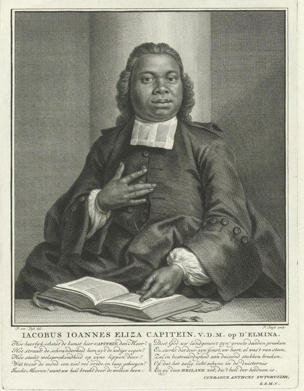 Portret van Jacobus Elisa Johannes Capitein, Pieter Tanjé, naar Philip van Dijk, 1742 - 1761