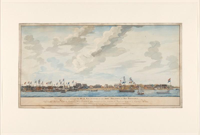 Gezicht op de stad Paramaribo en het Fort Zeelandia, Frederik Jägerschiöld, 1772